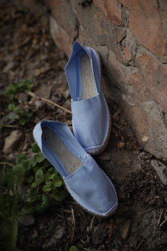 Классические голубые женские эспадрильи купить фото